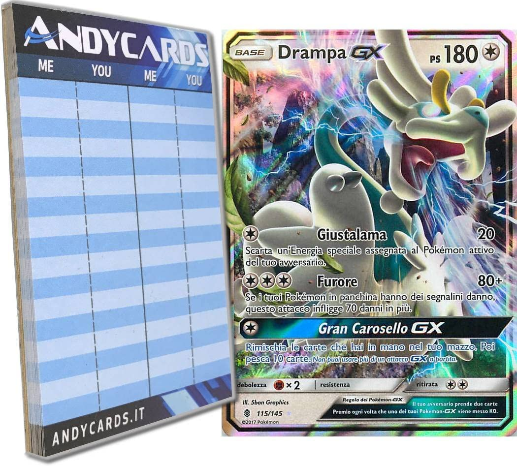 Carta Pokemon 115//145 DRAMPA GX ITA NO Full Art Sole Luna Guardiani Nascenti