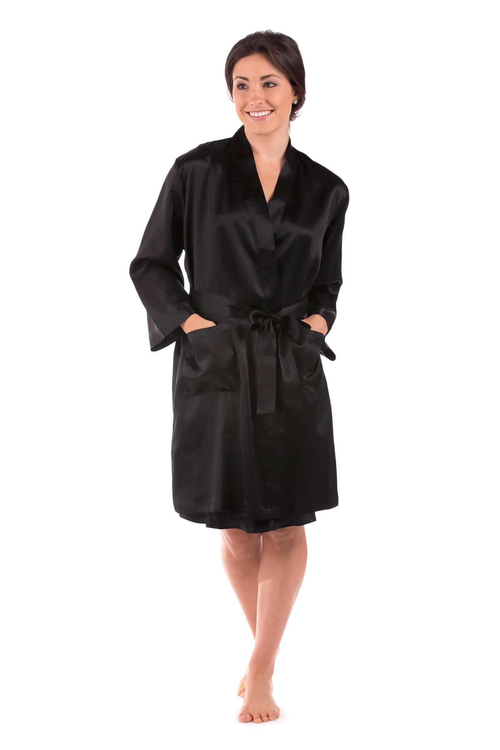 Women's Short 100% Silk Bathrobe - Luxury Robe by TexereSilk (Midnight Jewel, Black, Small/Medium) Great Gifts for Daughter Wife Fiancee WS0105-BLK-SM