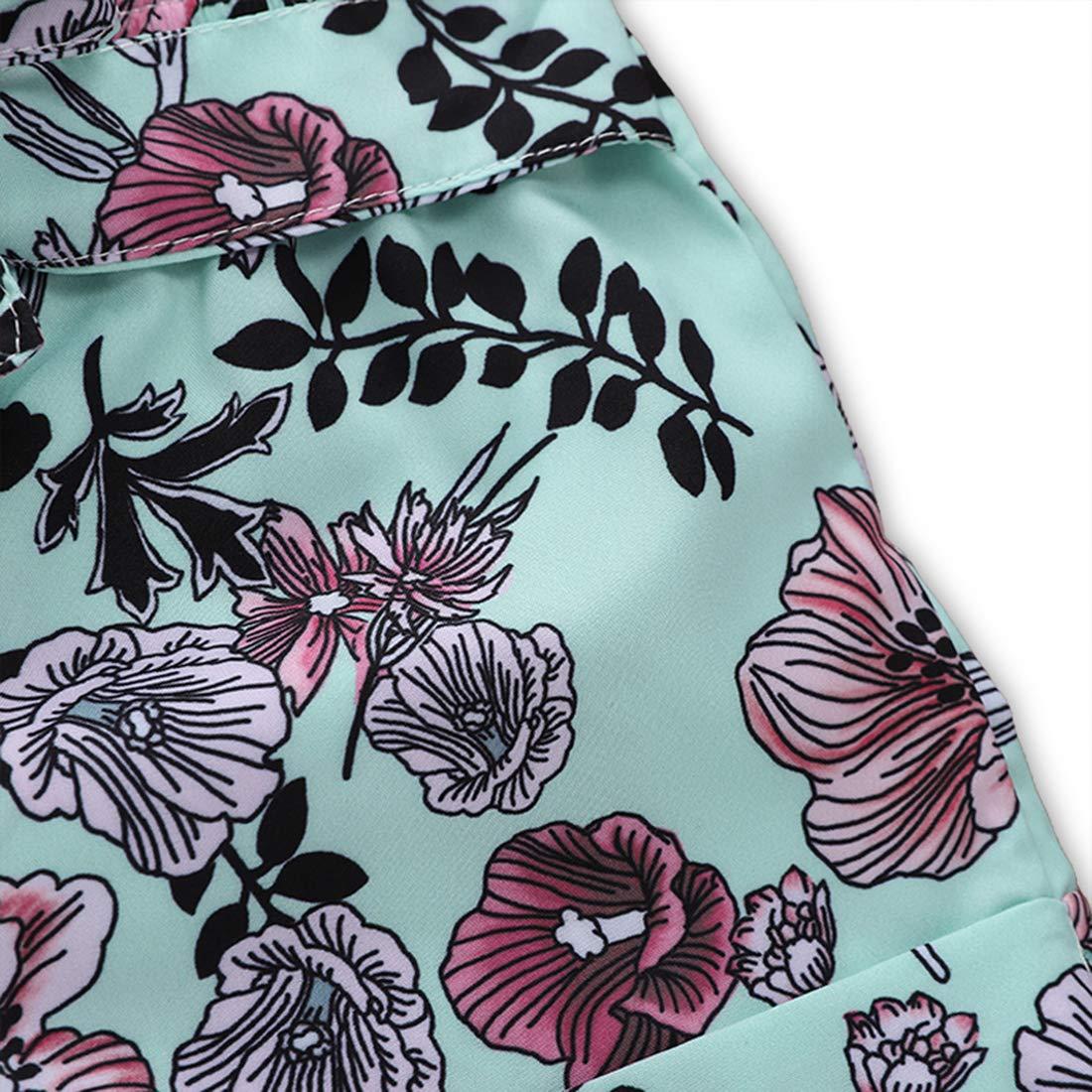 Newborn Baby Girl Jumpsuit Bodysuit Green Sleeveless Ruffles Off-Shoulder Romper Floral Shorts Summer Outfit Set