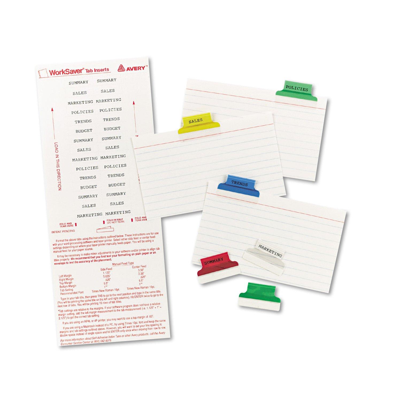 Avery pestañas de índice con inserciones de imprimible, 2.5 cm 25 ...