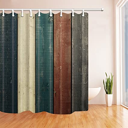 Retro Spell Color Wood Grain Shower Curtain Liner 70 X Inches Waterproof Polyester Fabric Bathroom
