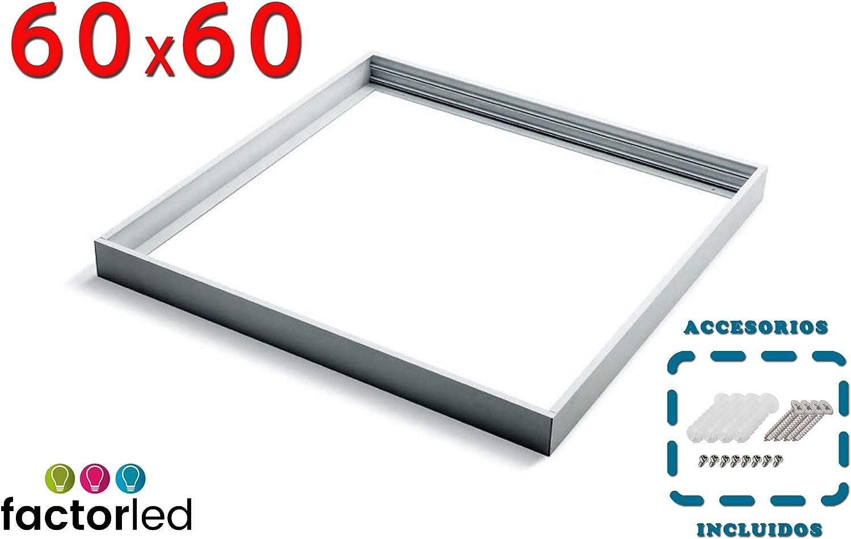 FactorLED Kit de Superficie para Panel 60x60 con Marco blanco, Fabricado en Aluminio, Kit para Techos - Accesorios Led