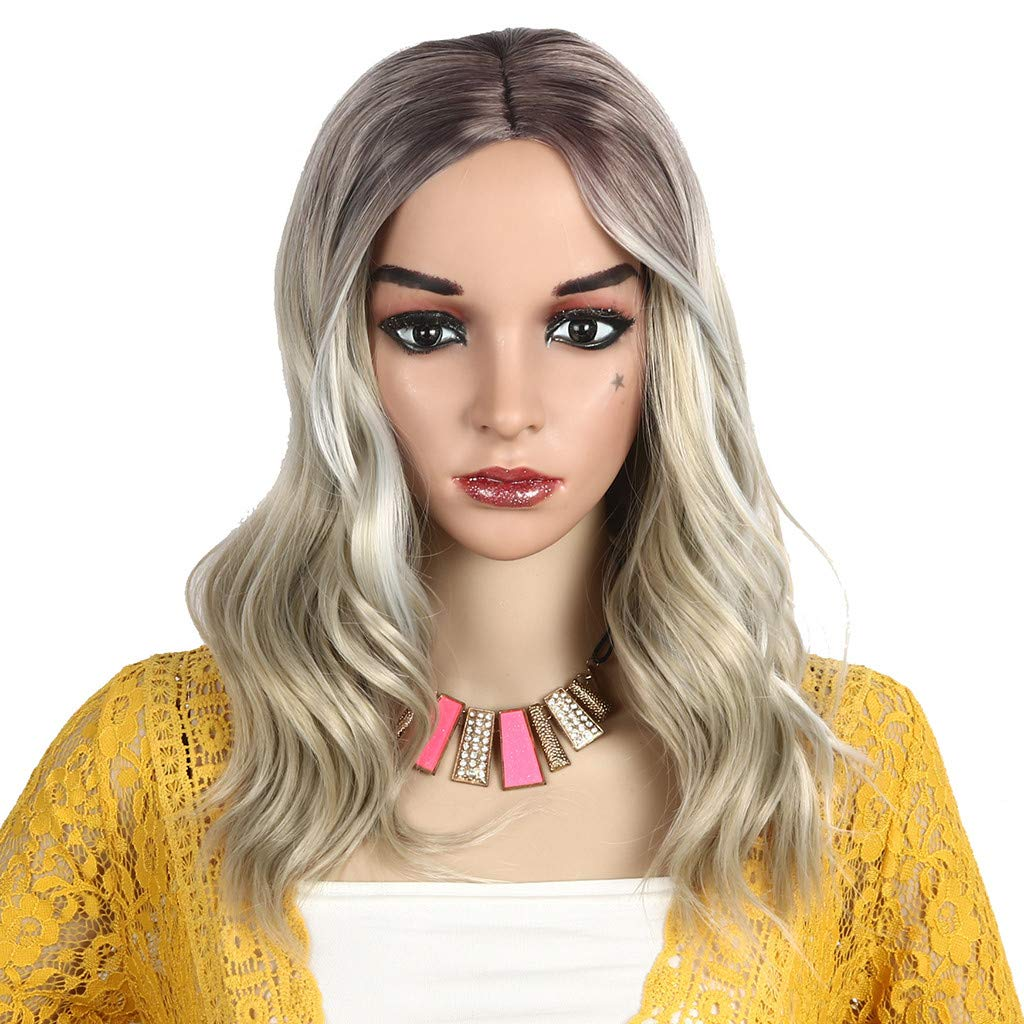 Hot Sale! Blonde Wigs,Women Fashion Gold Synthetic Hair Extension Long Wave Curly Wig Hairpiece (A) by Leewos-Wig (Image #5)