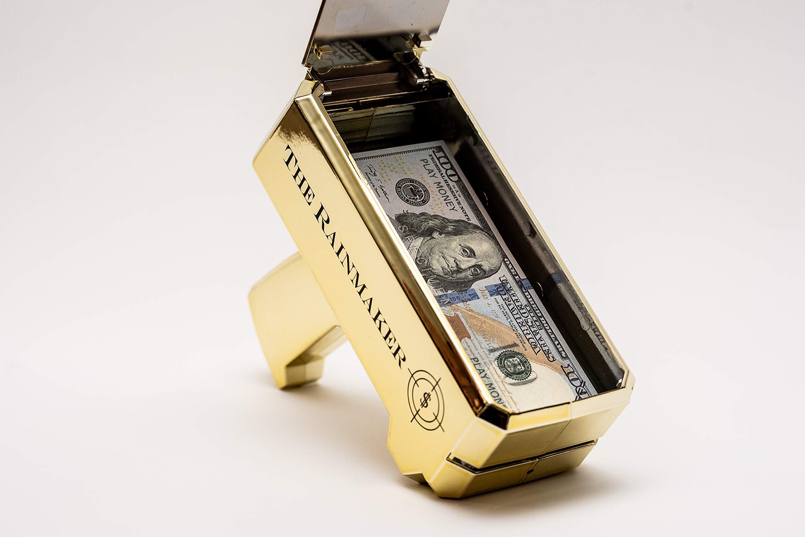 All Out Solutions The Rainmaker Money Gun | $10,000 Play Money | Money Looks Real! | Metallic Gold | Impress Your Friends with This Fun Party Toy | Shoot Cash and Make It Rain by All Out Solutions (Image #6)