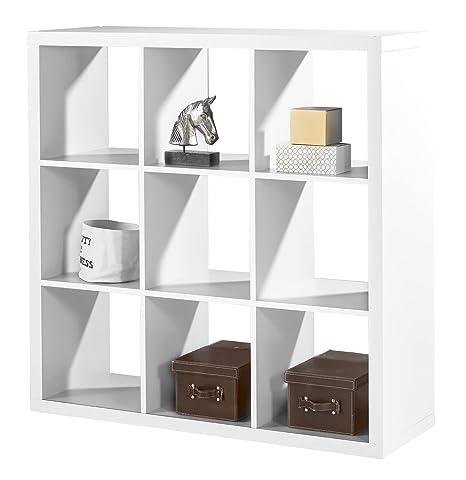Regal Raumteiler Raumtrenner Standregal | Weiß Dekor | 9 Fächer | B/H/L:  112x112x38 cm