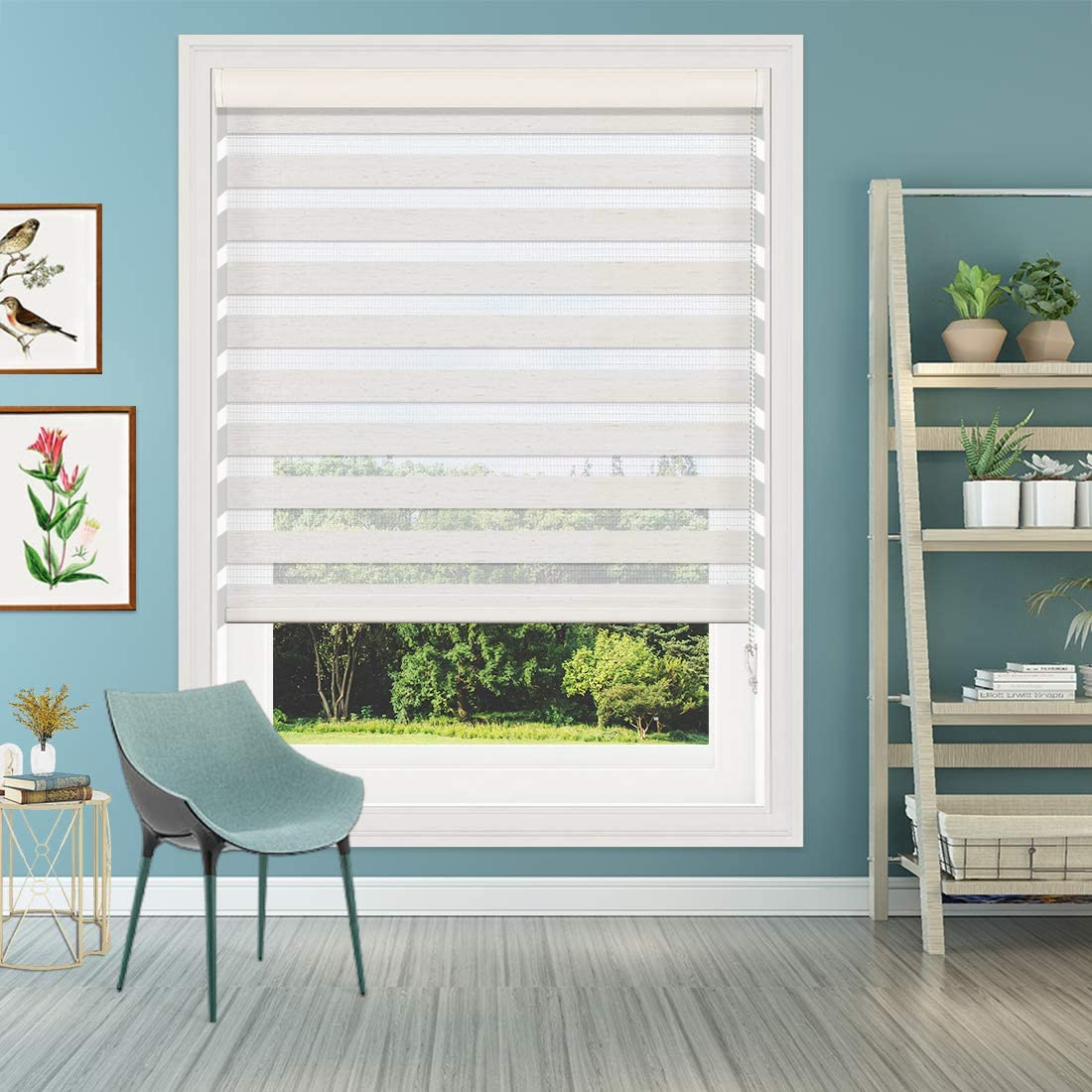 Keego Window Blinds Custom Cut to Size, Hemp Zebra Blinds with Dual Layer Roller Shades, Size W 58 x H 60 Dual Layer Sheer or Privacy Light Control for Day and Night