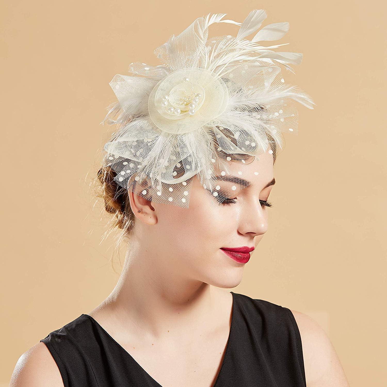 Fascinators Hat for Women Headband Kentucky Derby Flower Mesh Feathers Hair Clip