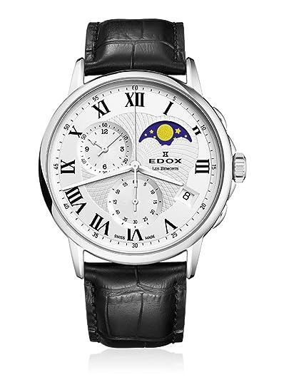 EDOX – Reloj de pulsera hombre Les bémonts Cronógrafo Fase lunar Fecha Cuarzo 01651 3 AR
