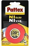 Pattex Ruban adhésif Ni clou ni vis double face - Fixation ultra forte et extra résistante - 1 x 19 mm x 1,5 m