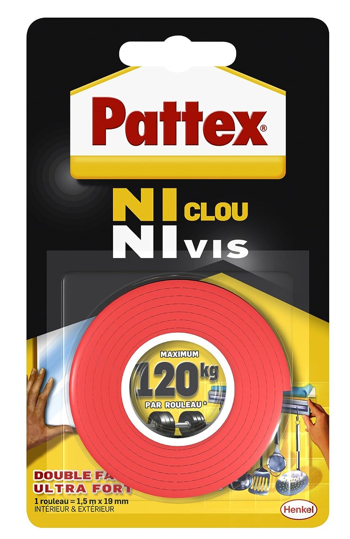 Pattex - Adesivo di fissaggio'senza chiodi, senza viti', 100 kg, 19 mm x 1,5 m senza viti 1376624