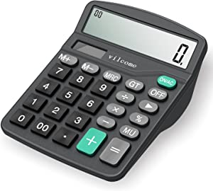 Calculator,Vilcome 12-Digit Solar Battery Office Calculator with Large LCD Display Big Sensitive Button, Dual Power Desktop Calculators (Black)