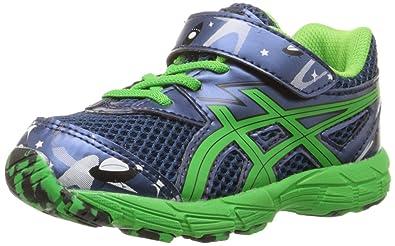 ASICS Turbo TS Running Shoe (Toddler), Poseidon/Shamrock/Black, 4