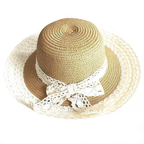 PREMYO Cappello di paglia da donna in marrone. Elegante cappello donna estivo a tesa larga. Grande cappello da spiaggia con fiocco. Cappello estivo pieghevole da sole protegge dai raggi UV