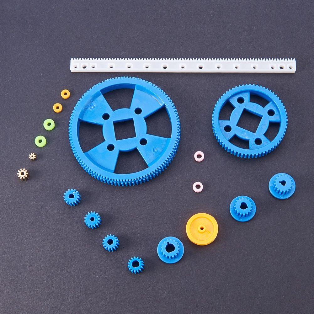 PH PandaHall 80pcs Plastic DIY Gear Sets DIY Robot Gear Kit Gearbox Motor Gear Set for DIY Car Robot Worm Gears Single Spindle Double Gear