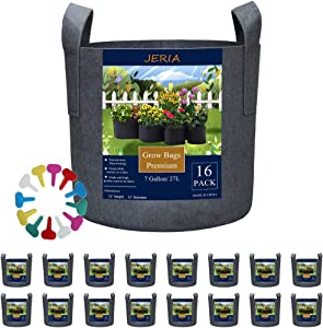 JERIA 16-Pack 7 Gallon Grow Bags, Heavy Duty Thickened Nonwoven Fabric Pots Container with Reinforced Handles, Vegetable/Flower/Plant Grow Pots Come with 16 Pcs Plant Labels