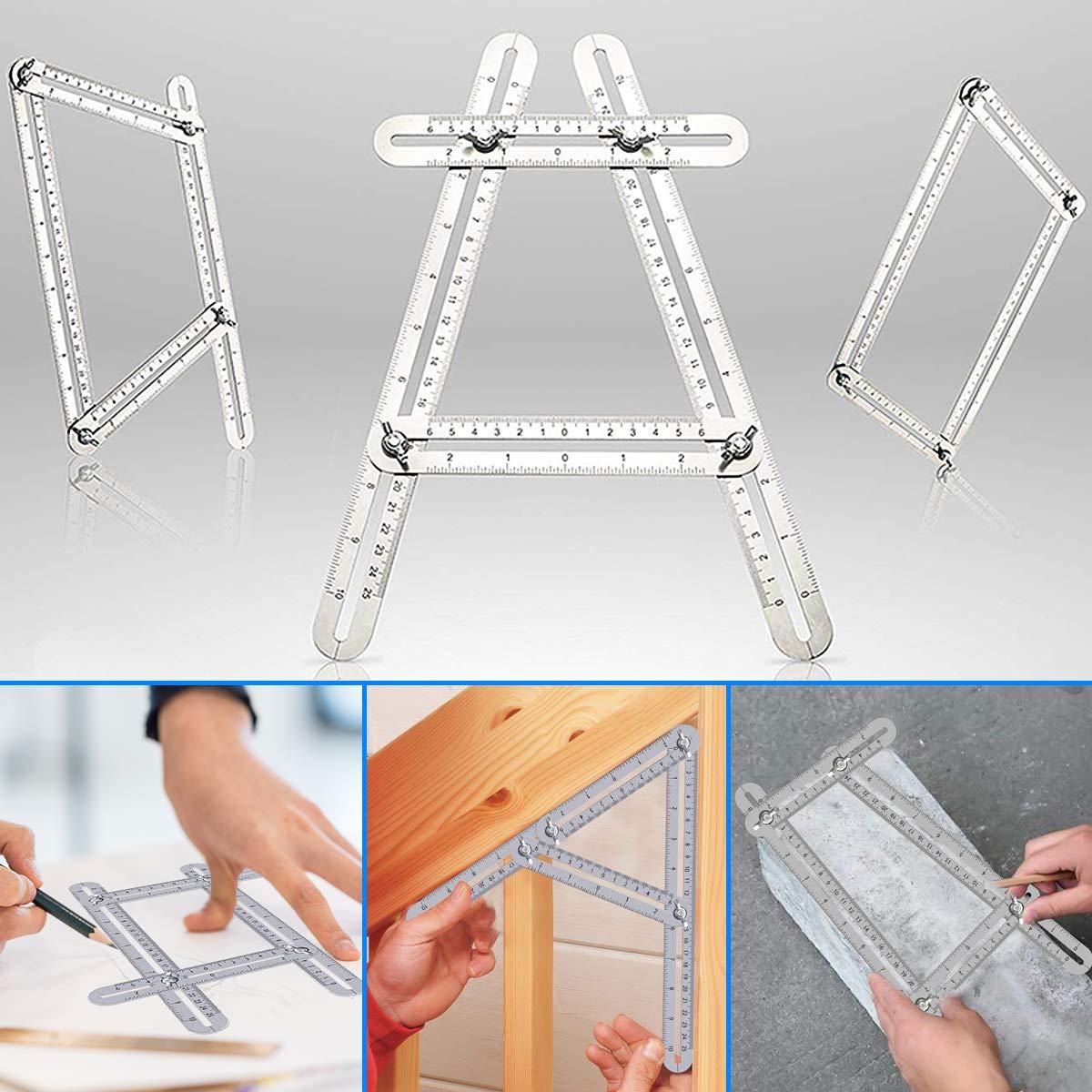 Builders Multi Angle Ruler Template Tool Ruler DIY Craftsmen Omont Stainless Steel Angle Finder Measurement Ruler for Handymen