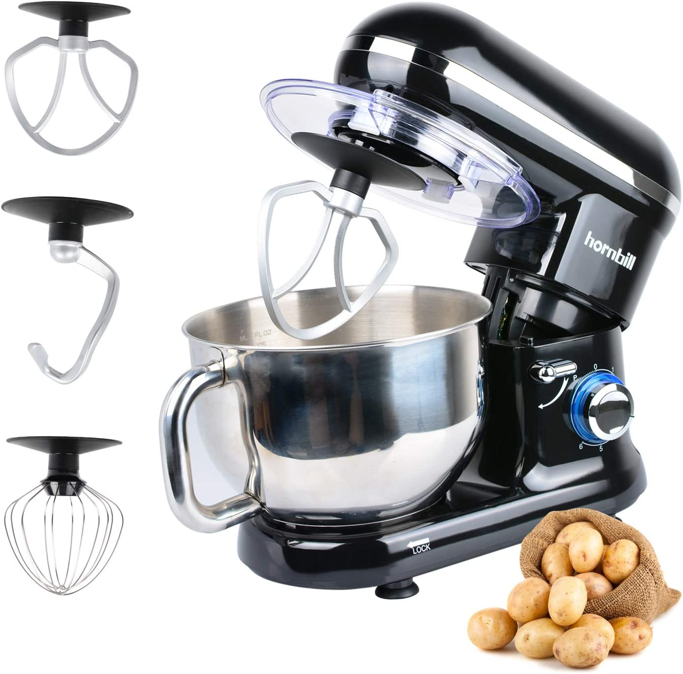 Hornbill Tilt-head Stand Mixer, Electric Mixer 600W 6-Speed 5-Quart Stainless Steel Bowl Professional Kitchen Mixer With Dough Hook, Whisk, Beater Black
