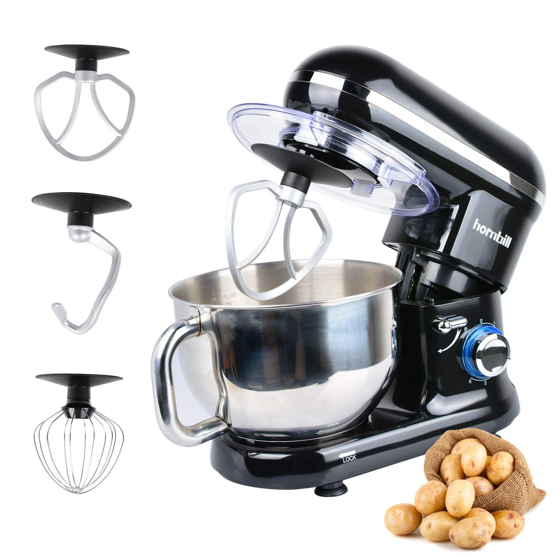 Hornbill Tilt-head Stand Mixer, Electric Mixer 600W 6-Speed 5-Quart Stainless Steel Bowl Professional Kitchen Mixer With Dough Hook, Whisk, Beater Black