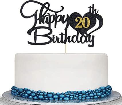 Miraculous Amazon Com Glitter Black Happy 20Th Birthday Cake Topper 20Th Personalised Birthday Cards Paralily Jamesorg