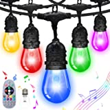FMIX Color Changing Outdoor String Lights,24FTS RGB String Lights Weatherproof Shatterproof Music Auto Flash Color Changing S