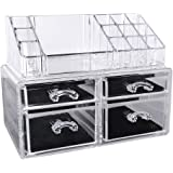 Songmics Acrylic Makeup Organiser Cosmetic Jewellery Storage with 4 clear drawers Display Boxes 2 Pieces Set JKA005