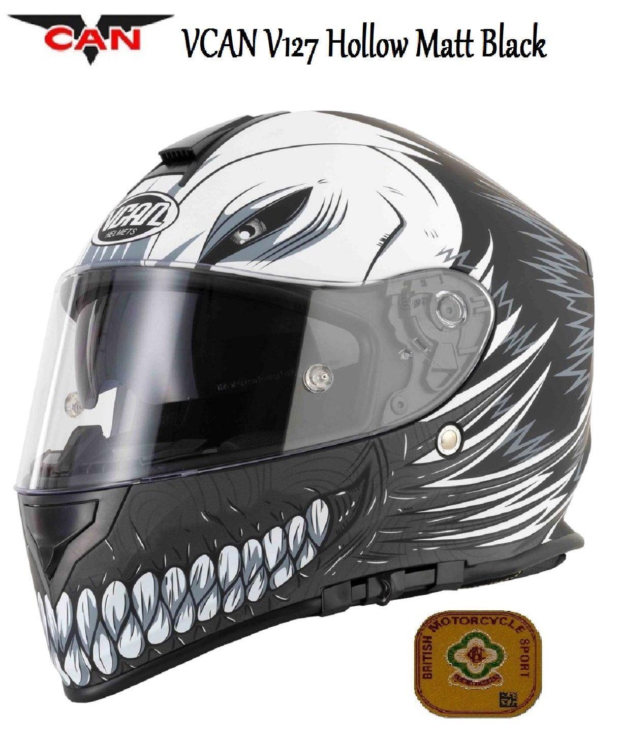 Motocicleta VCAN V127/Hueca Negro Mate Casco Integral para Motocicleta Face Graphic CEPE ACU Aprobado Sports Touring Casco y Rejilla pasamonta/ñas