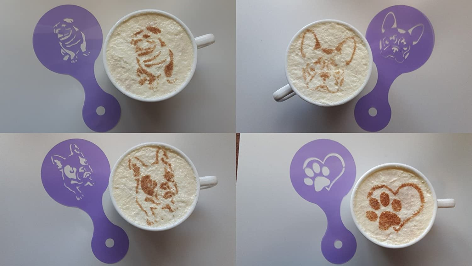 3 x bulldog dog coffee cup designs & 1 paw in heart stencils reusable many times cafe restaurant pub Frenchie