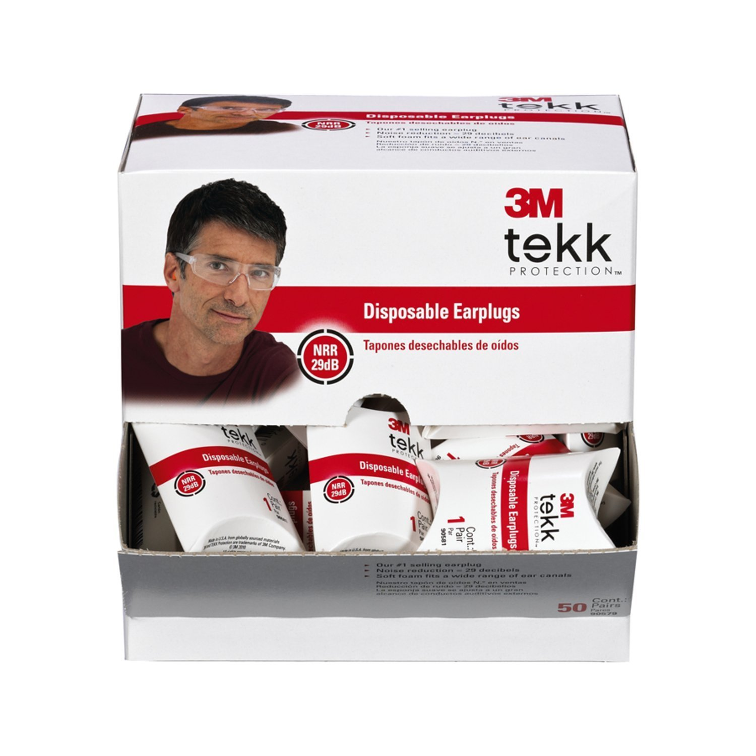 3M Tekk Protection Disposable EAR Plugs 200-Pair AO Safety 90581