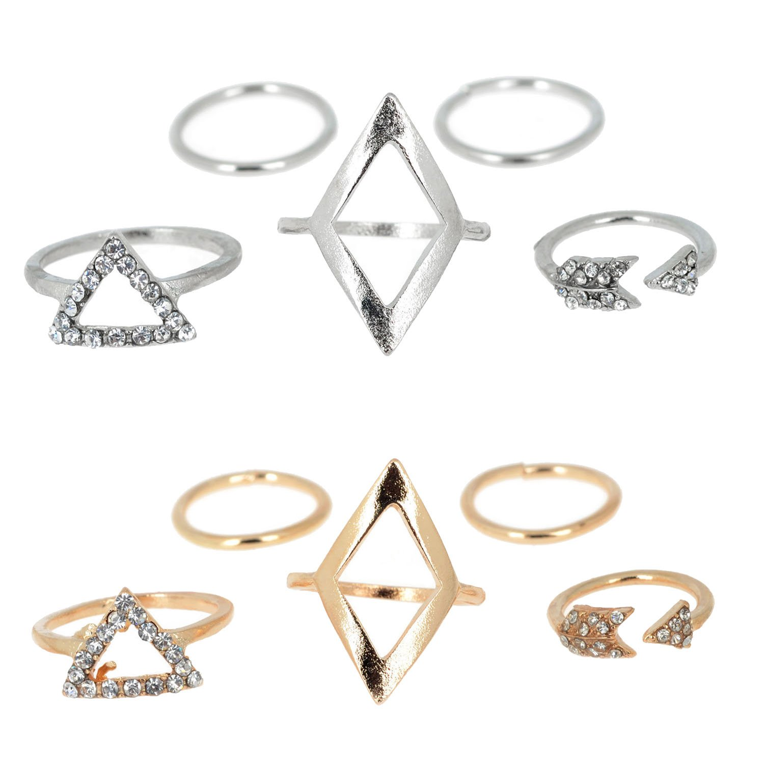 10Pcs Fashion Women Ring Retro Bohemia Style Knuckle Ring for Wedding Party Fashion Show Prom Banquet Clothing Gosear