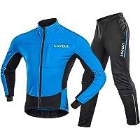 Men Cycling Clothing Set Waterproof Windproof Thermal Fleece Long Sleeve Bicycle Jacket Jersey with Pants