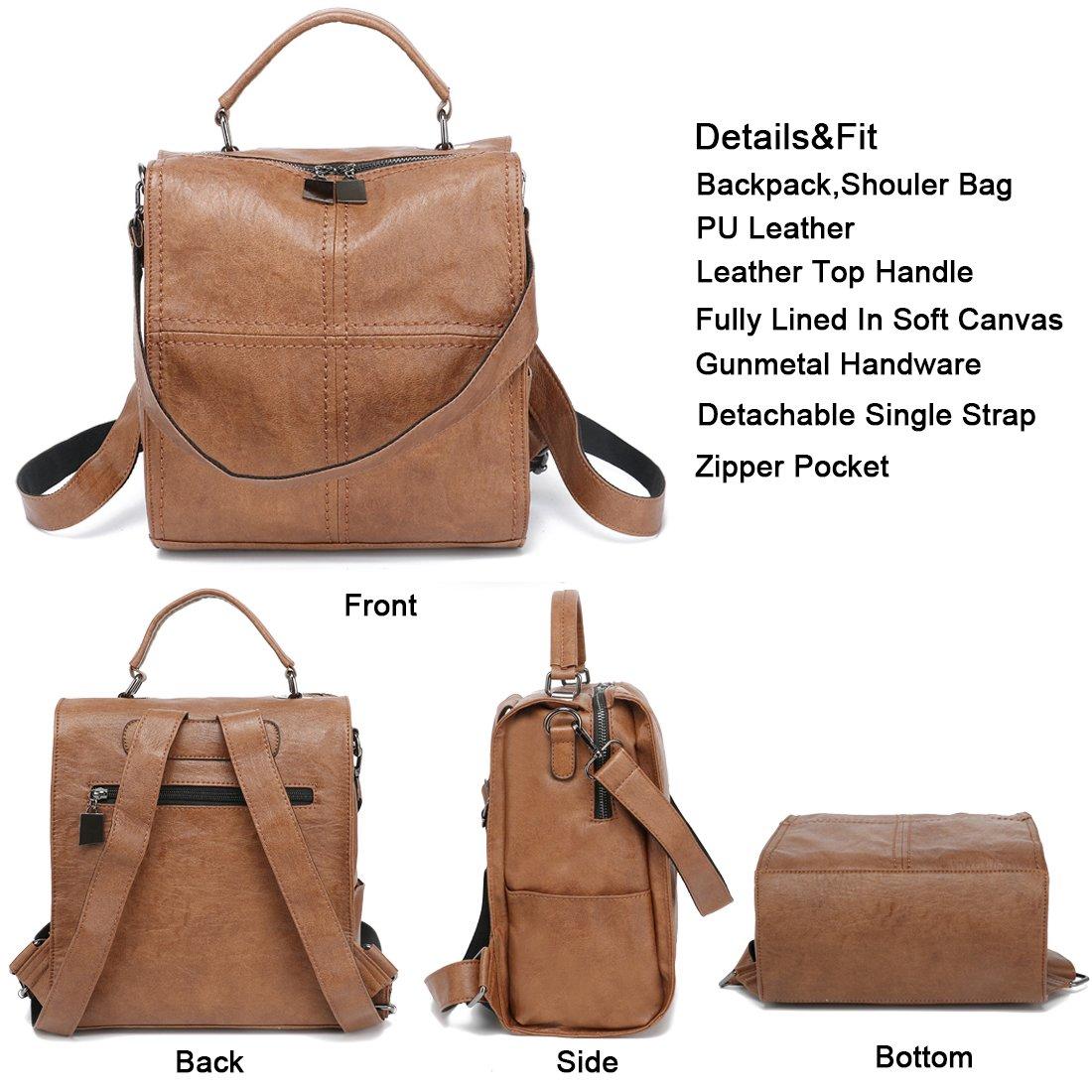 Red Cute Women Backpack Purse PU Leather Mini Convertible Shoulder Bag Square Rucksack Handbag Purse Vintage Satchel Bags