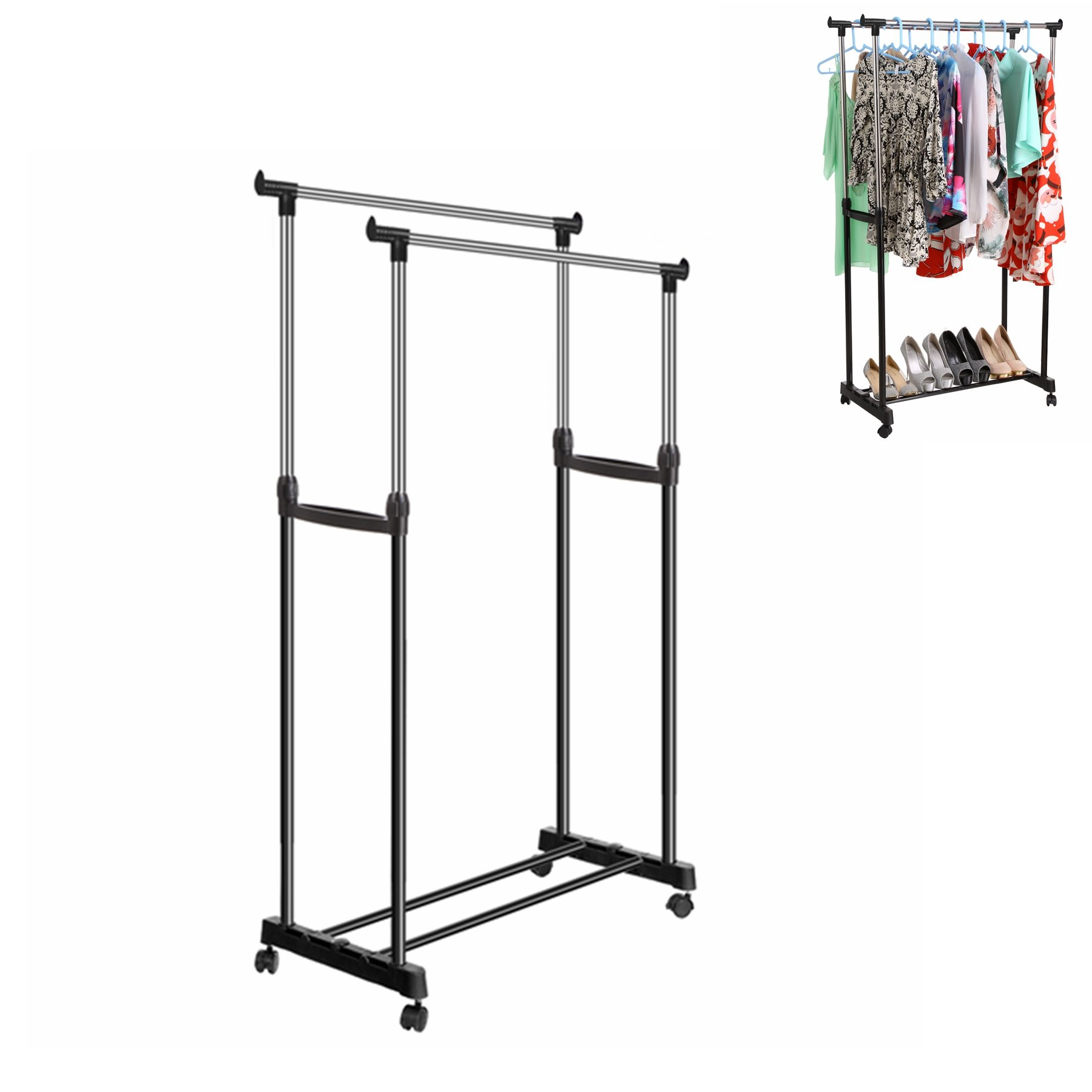 Benlet Stainless Adjustable Double Rod Clothes Hanging Rack and Shoe Rack with Wheel and Brake (US Stock) (Black)