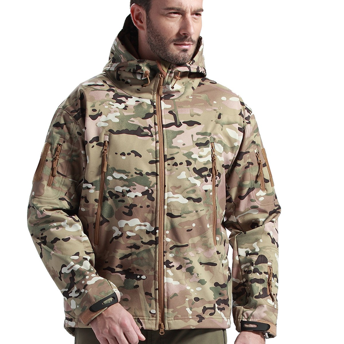 FREE SOLDIER Tactical Jacket Soft Shell Fleece Lined Water Repellent Coat Windproof Outwear Camouflage Jacket