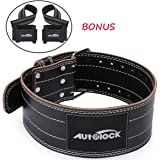 """Autolock Weight Lifting Belt for Men and Women, Genuine Leather 4"""" Wide Workout Belt with Double Prong Buckle, Stabilizing Lo"""