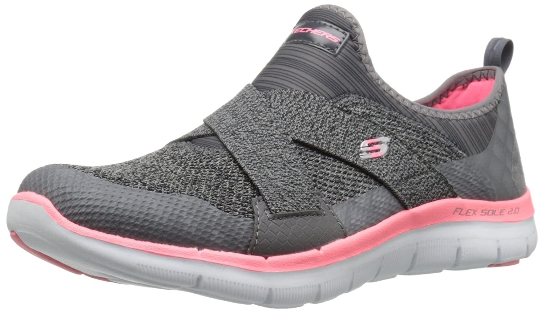 Skechers Sport Women's Flex Appeal 2.0 New Image Fashion Sneaker B01AHK529Q 5.5 B(M) US|Charcoal/Coral