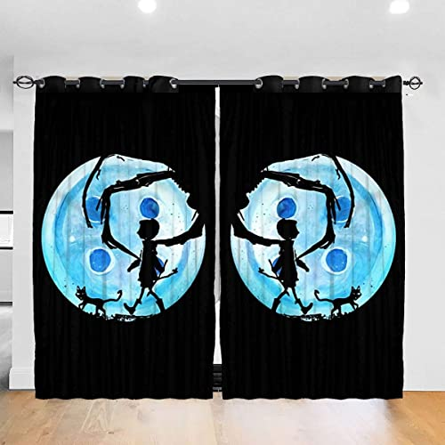 Hidreama Coraline Blue Full Moon Nightmare Cat Bedroom Blackout Curtains Room Darkening Drapes Top Insulation Compartment Window Curtain
