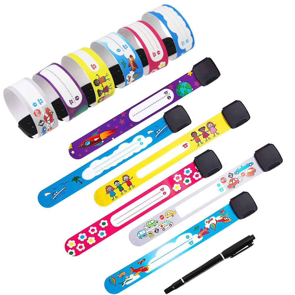 TANCUDER 12 Pack Safety ID Wristbands Reusable Kids Safety Bracelet Adjustable Waterproof ID Band with 1Pcs Special Pen,Child Safety Identification Bracelets Emergency Bands for Boys and Girls Wearing