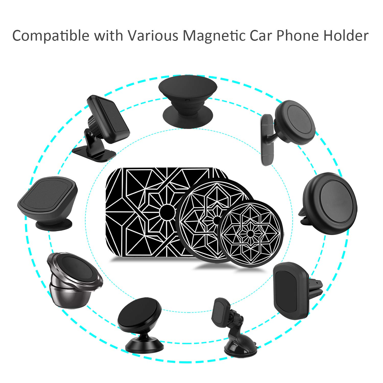 Mount Metal Plate 10 Pack for Magnetic Cell Phone Car Cradle-Less Mounts with 3M Adhesive,Stylish Universal Disc Replacement Sticker for Magnet iPhone Holder Mini Tablet GPS Stand 6 Round 4 Rectangle