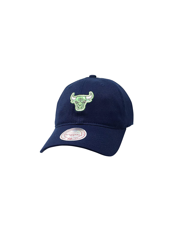 Mitchell & Ness シカゴブルズ 調節可能なスナップバック&ストラップバックハット NBA バスケットボール ストレート&カーブつば 野球帽 Navy/Neon 緑 Metallic One Size