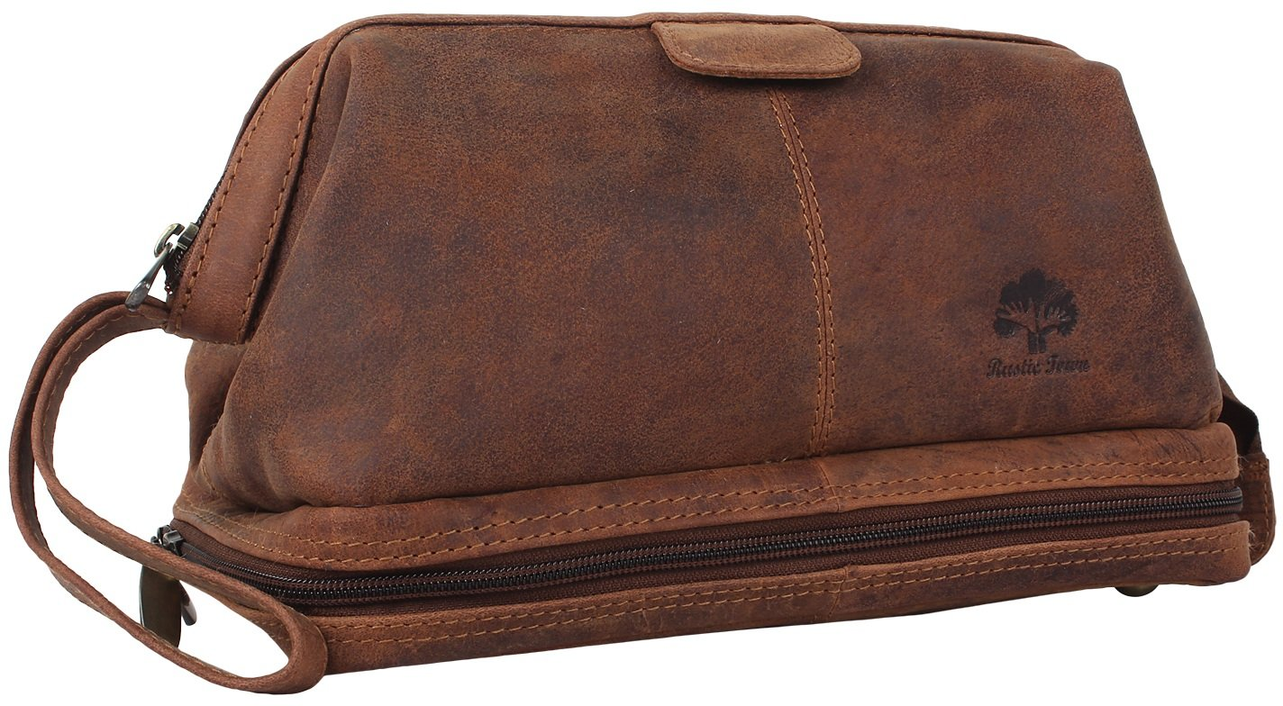 Genuine Leather Travel Cosmetic Bag - Hygiene Organizer Dopp Kit By Rustic Town