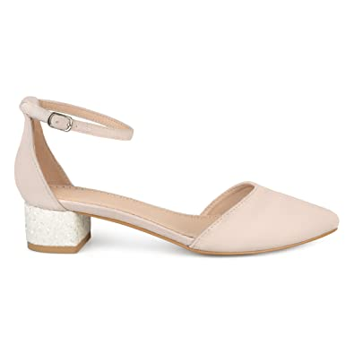 ad947a6155bf Womens Faux Suede Ankle Strap Pointed Toe Glitter Heels Bone