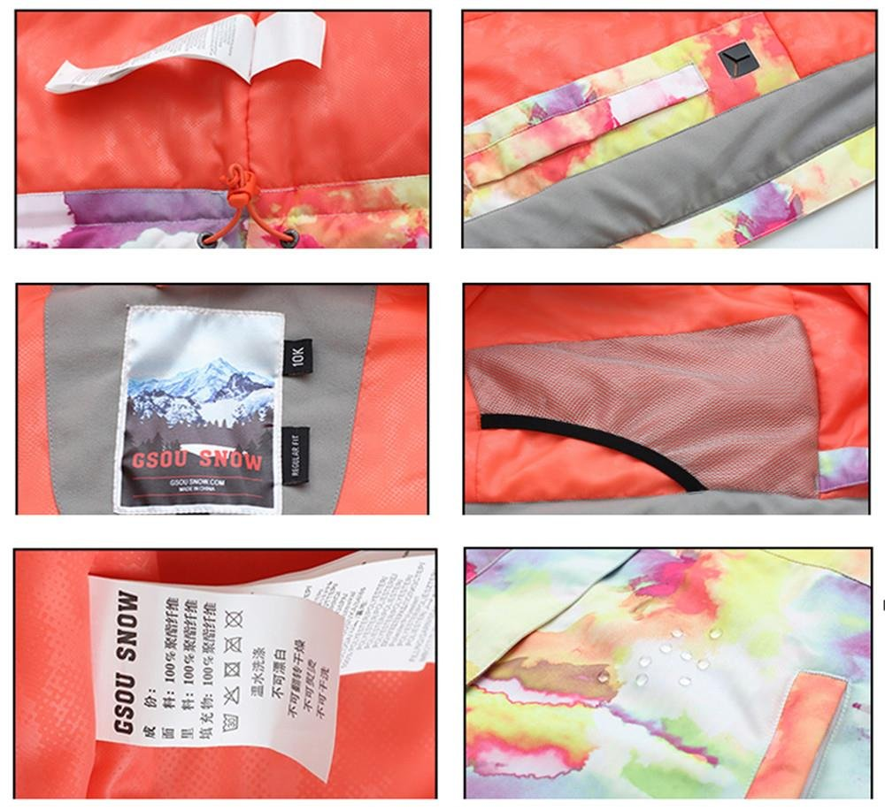 Women's High Breathable Waterproof and Windproof colorful Snowboard Printed Ski Jacket by RIUIYELE (Image #4)