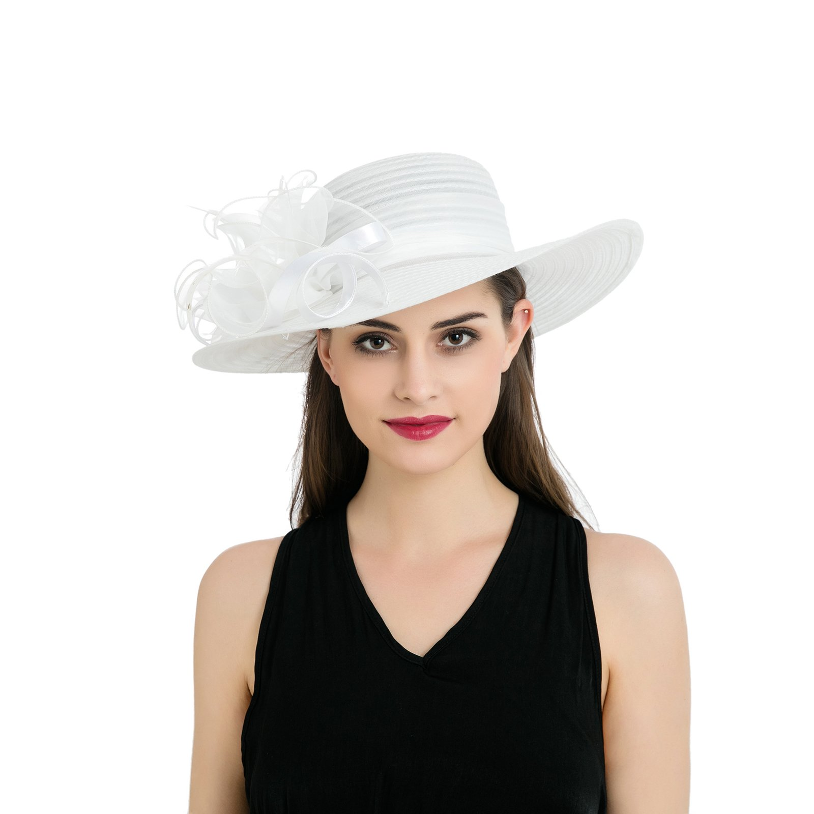Dantiya Womens Organza Wide Brim Floral Feather Ribbon Kentucky Derby Church Dress Sun Hat, White Free
