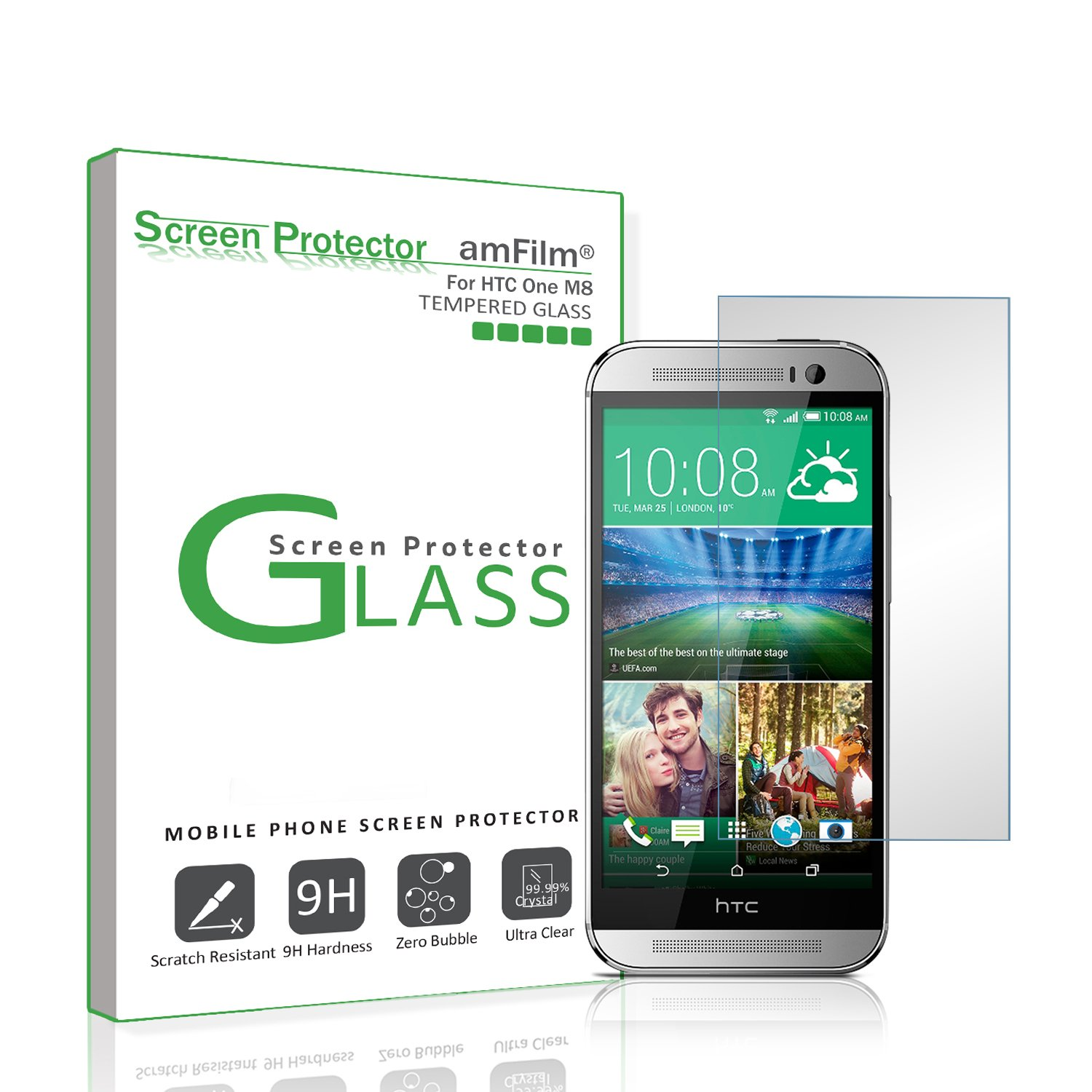 Amazon Amfilm Tempered Glass Screen Protector For Htc One M8