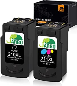 JARBO Remanufactured for Canon PG-210XL CL-211XL Ink Cartridges, 2 Pack (1 Black + 1 Tri-Color), Used in Canon PIXMA MP495 IP2700 MP490 MP480 MP280 MX330 MX340 XM410 MX420 MX350 Printer