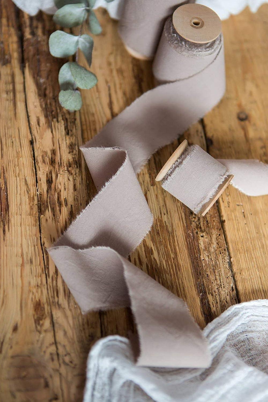 Beige Rose Mauve Edge White Variegated Bias-Cut Hand-Dyed Silk Ribbon \u2022 12 \u2022 58 \u2022 1 \u2022  1-12 \u2022 2-12