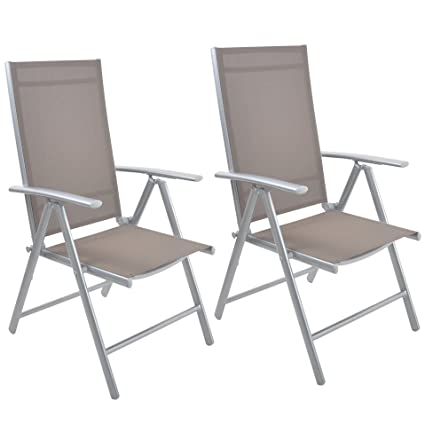 Livebest Set Of 2 Folding Sling Chair Patio Adjustable Reclining Back  Sturdy Aluminum Frame With Armrest