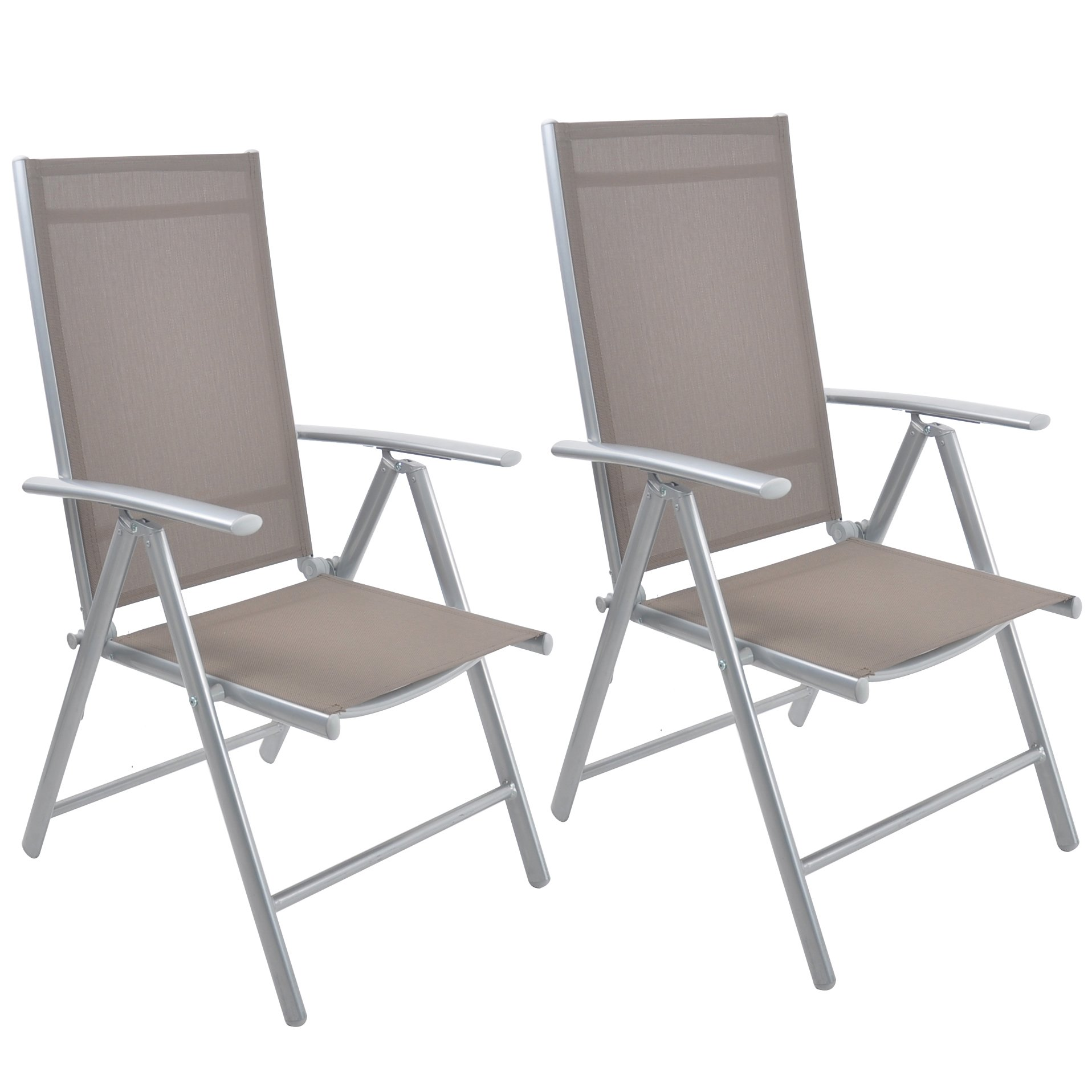 Livebest Set of 2 Folding Sling Chair Patio Adjustable Reclining Back Sturdy Aluminum Frame with Armrest Indoor Outdoor Furniture Garden Pool Bench,Gary
