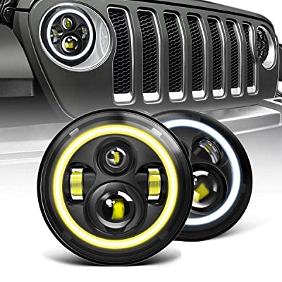 AUSI Black Pair 7 Inch Led Headlights W/ White Halo Ring DRL Angel Eye Hi/Lo Beam Amber Turn Signal Function for Jeep Wrangler JK JKU TJ LJ CJ Hummer H1 H2: Automotive