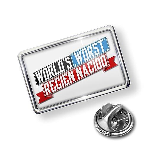 Amazon.com: NEONBLOND Pin Funny Worlds Worst Recién Nacido: Jewelry